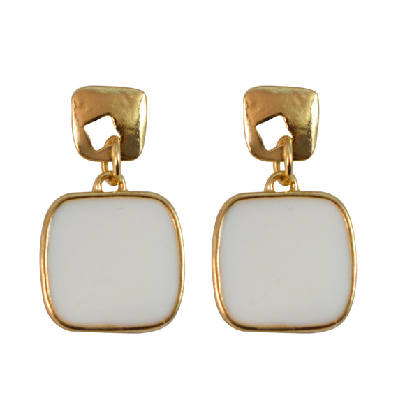 Sarah Geometric Design Elegant Pastel Color Gold Tone Outlined Dainty Dangle Enamel Earrings for Girls and Women