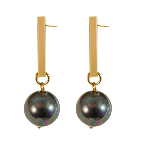 Sarah Pearl Dangle Drop Gold Tone Sleek Bar Earrings for Girls and Women