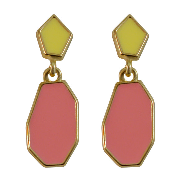 Sarah Geometric Shape Elegant Pastel Color Gold Tone Outlined Dainty Dangle Enamel Earrings for Girls and Women