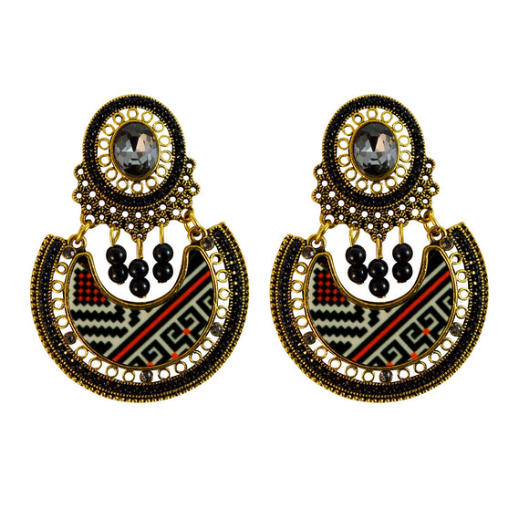 Sarah Tribal Art Printed Glossy Finish Dangle Ethnic Earrings for Girls and Women