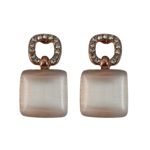 Sarah Square Shape Gold Tone Earrings for Girls and women