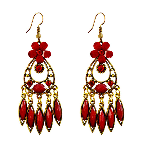 Sarah Floral Golden Finish Dangle Ethnic Party Wear Earrings for Girls and Women