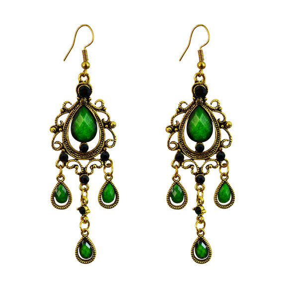 Sarah Long Antique Golden Oxidised Ethnic Dangle Earrings for Girls and Women