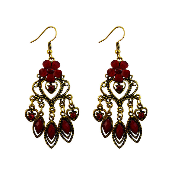 Sarah Floral Golden Finish Dangle Ethnic Party Wear Festive Earrings for Girls and Women