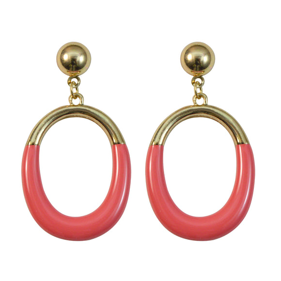 Sarah Golden Finish Oval Hollow Dangle Earring for Girls and Women