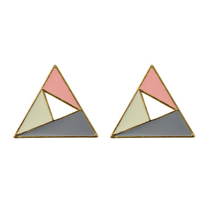 Sarah Golden Finish Triangle Hollow Stud Earring for Girls and Women