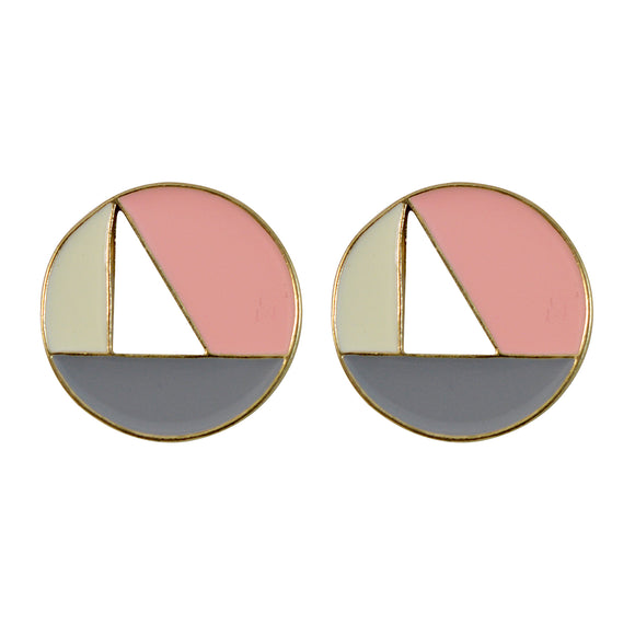 Sarah Golden Finish Round Hollow Stud Earring for Girls and Women