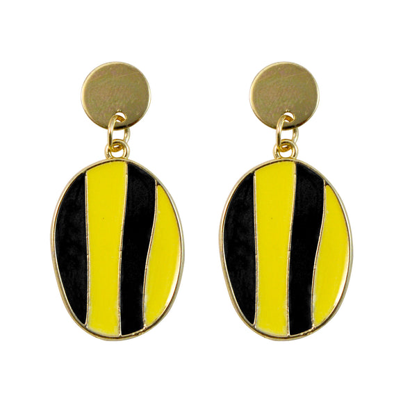 Sarah Golden Finish Stripes Dangle Earring for Girls and Women
