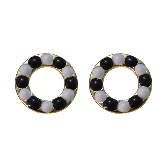 Sarah Golden Finish Round Dotted Stud Earring for Girls and Women