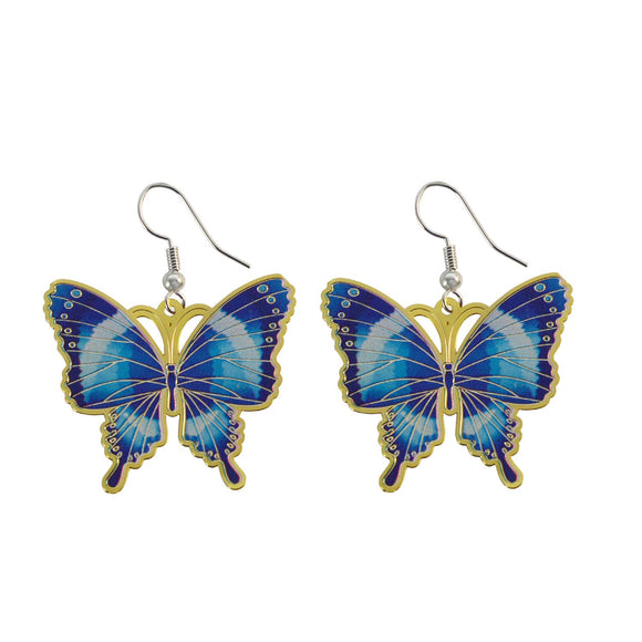 Golden Finish Butterfly Shaped Enamel Dangle Earring for Girls and Women