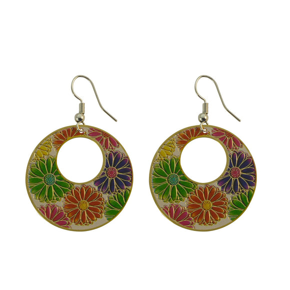 Golden Finish Enamel with Floral Design Dangle Earring for Girls and Women