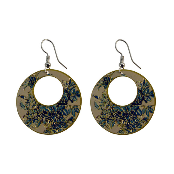 Golden Finish Round Enamel with Floral Design Dangle Earring for Girls and Women