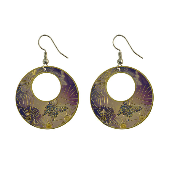 Golden Finish Round Enamel with Beautiful Design Dangle Earring for Girls and Women