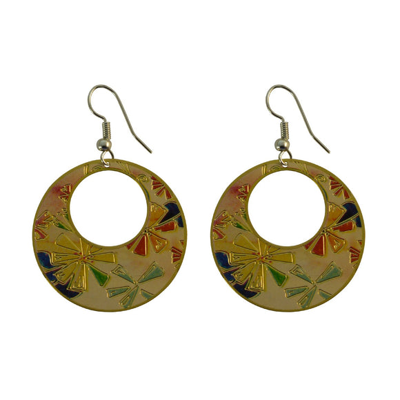 Golden Finish Round Enamel with Elegant Design Dangle Earring for Girls and Women