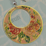 Golden Finish Round Enamel with Rose Design Dangle Earring for Girls and Women