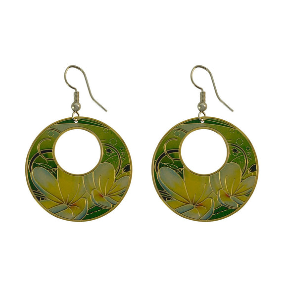Golden Finish Round Enamel with Pretty Design Dangle Earring for Girls and Women
