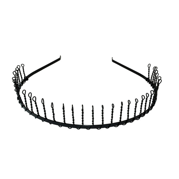 Metal Hair Hoop Black Comb Toothed Wavy Head Band Daily Use for Unisex Men Women