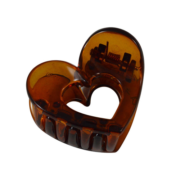 Sarah Brown Small Heart Shape Acrylic Hair Clip Claw Clip for Girls and Women