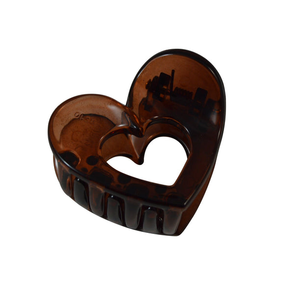 Sarah Coffee Small Heart Shape Acrylic Hair Clip Claw Clip for Girls and Women