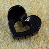 Sarah Black Small Heart Shape Acrylic Hair Clip Claw Clip for Girls and Women