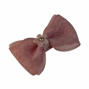 Sarah Light Pink Single Bow Clip with Lace and Flower for Girls