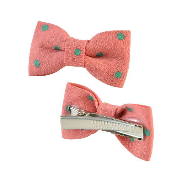 Sarah Polka Dot Bow Clip Pair for Girls and Women