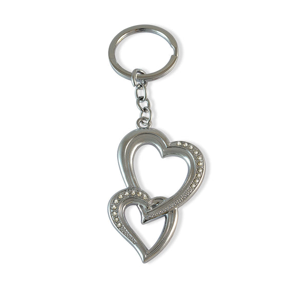 Heart & Heart Silver Color Key Chain