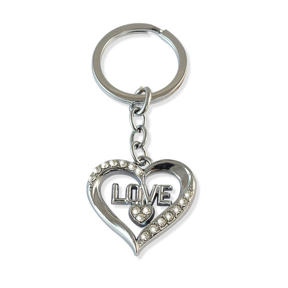 Love & Two Heart Silver Color Key Chain
