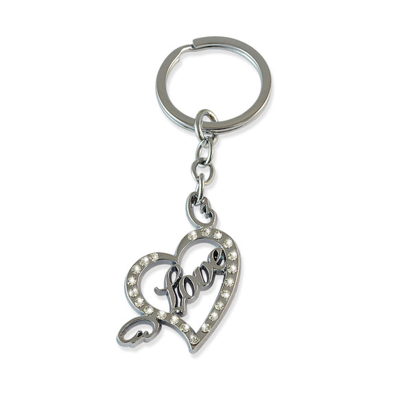 Love & Heart Silver Color Key Chain