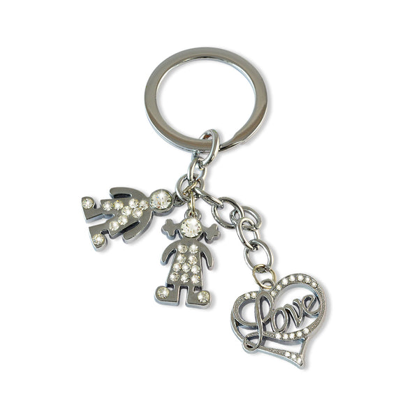 U & Me Plus Heart Silver Color Key Chain