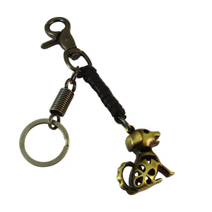 Sarah Keychain for Men and Women Hollow Dog Black Leather Key Ring with Easy Clasp
