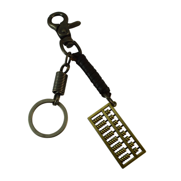 Sarah Abacus Charm Keychain for Men and Women Black Leather Key Ring with Easy Clasp