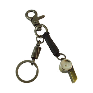 Sarah Whistle Charm Keychain for Men and Women Black Leather Key Ring with Easy Clasp
