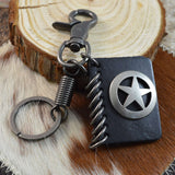 Sarah Pentagram/Star Charm on Leather Keychain for Men and Women Black Leather Key Ring with Easy Clasp