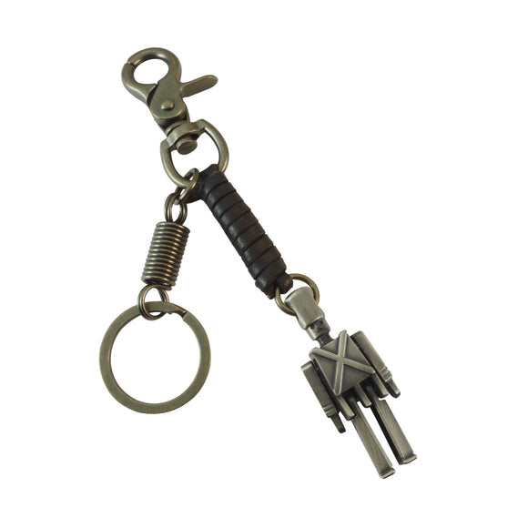 Sarah Soldier Charm Keychain for Men and Women Black Leather Key Ring with Easy Clasp