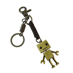 Sarah Robot Charm Keychain for Men and Women Black Leather Key Ring with Easy Clasp