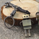 Sarah Robot Charm Brass Finish Keychain for Men and Women Black Leather Key Ring with Easy Clasp
