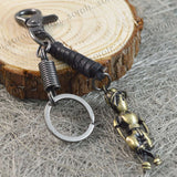 Sarah Boy Charm Brass Finish Keychain for Men and Women Black Leather Key Ring with Easy Clasp