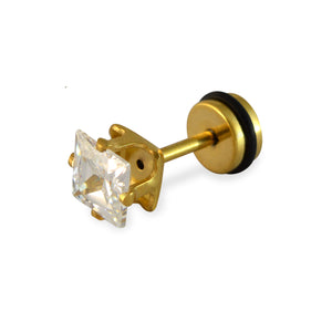 Sarah Faux Diamond Square Shape Mens Stud Earring Gold