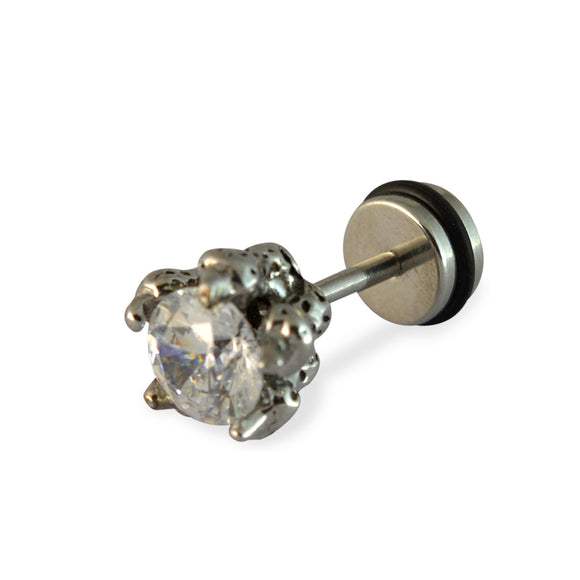 Sarah White Faux Diamond Round Oxide Finished Mens Stud Earring