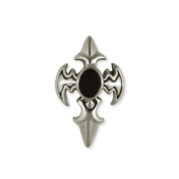 Sarah Oval Cross Vintage Mens Stud Earring, Silver Stud for Men