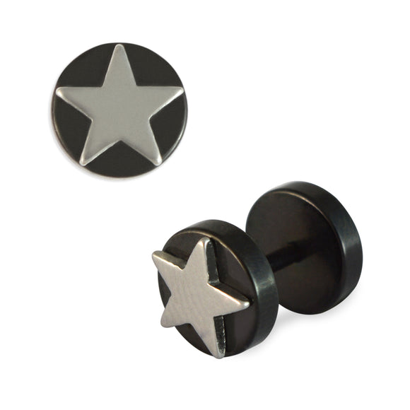 Sarah Silver Star Design Mens Stud Earring