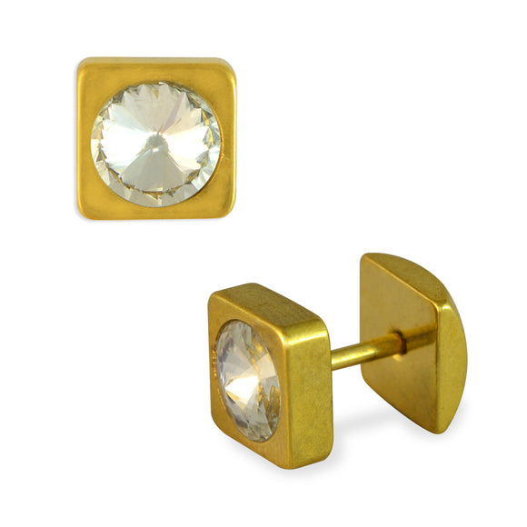 Sarah Faux Diamond Square Shape Mens Stud Earring