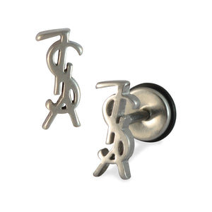 Sarah Alphabets Shape Mens Stud Earring