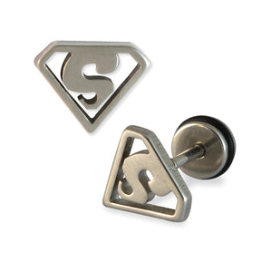 Sarah Superman Mens Stud Earring