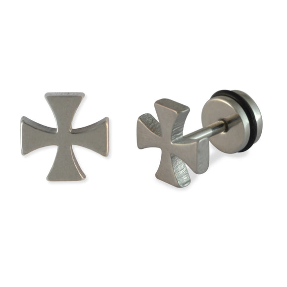Sarah Crutch Cross Mens Silver Stud Earring for Men