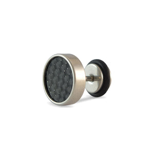 Sarah Black Textured Single Stud Earring for Men