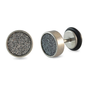 Sarah Black Glitter Silver Single Stud Earring for Men