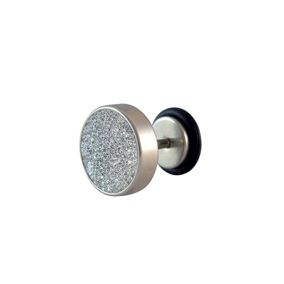 Sarah Glitter Silver Single Stud Earring for Men