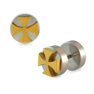 Sarah Cross Silver Single Stud Earring for Men